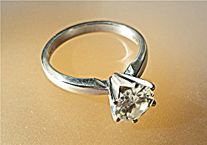 14k Gold Moissanite Tiffany Set 6 Prong Ring