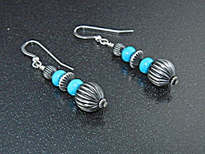 Navajo Sterling Silver Sleeping Beauty Turquoise Earrin