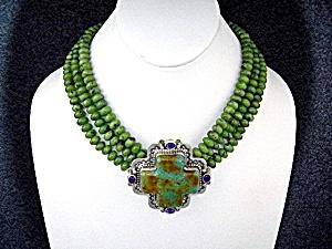 David Troutman Sterling Silver Kingman Turquoise &Jade  (Image1)