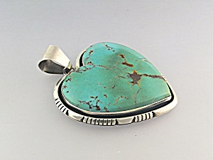 Native American Sterling Silver Turquoise Heart Lonnie  (Image1)