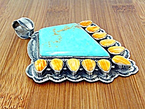 Pendant Sterling Silver Turquoise Spiny Oyster by DURAN (Image1)