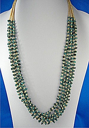 Necklace 5 Strand Turquoise Melon Shell Heishi USA (Image1)