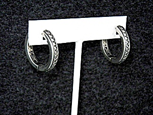 Sterling Silver Huggie Scott Kay Hoop Earrings (Image1)