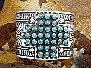 Navajo SUNSHINE REEVES Sterling Silver Turquoise Cuff (Image1)