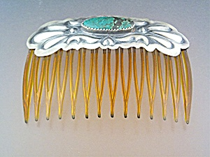 Hair Comb Sterling Silver Turquoise Native American