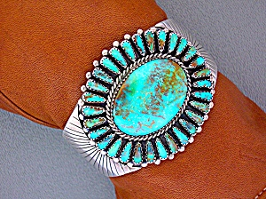 Turquoise Eula Mae Begay Sterling Silver Signed Cuff