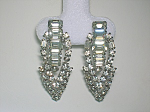 Crystal And Silver Rhodium Dangle Clip Earrings