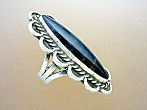 Sterling Silver Obsidian Agate Artist ring L 3 (Image1)