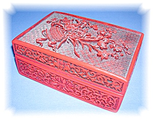 VINTAGE CINNABAR BOX. (Image1)