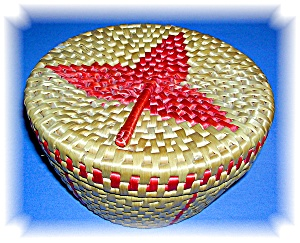 WOVEN BASKET WITH LID.... (Image1)