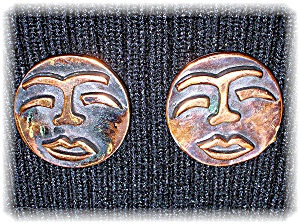 Signed Copper REBAJE Copper Face Clip Earrings (Image1)