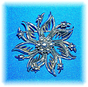 Sterling Silver Vintage Flower Pin Brooch (Image1)
