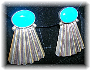 Native American Sterling Silver Turquoise Signed Clips