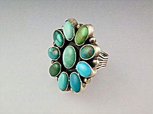 CARICO LAKE Turquoise  Sterling Silver Signed BR Ring (Image1)