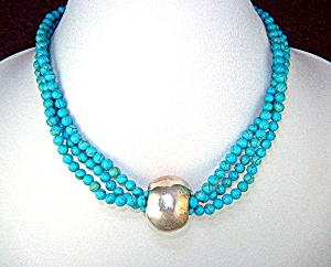 Turquoise 3 Strand Sterling Silver Center Bead Necklace (Image1)