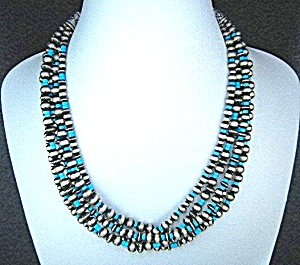 Navajo Sleeping Beauty Turquoise Sterling Silver 5 Stra