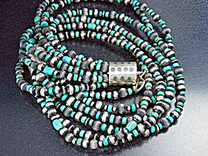 Navajo Kingman Turquoise Sterling Silver Necklace