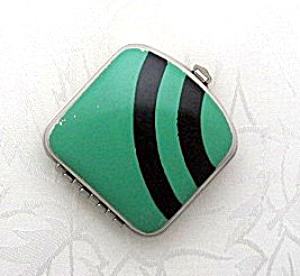 Enamel Black Green Art Deco Look Mirror Pill Box (Image1)