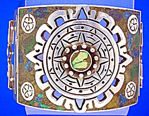 Taxco Mexico Sterling Silver Inlay bracelet Push Clasp (Image1)