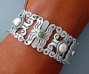 Mexican Silver Bracelet 40s Green Jade Vintage (Image1)