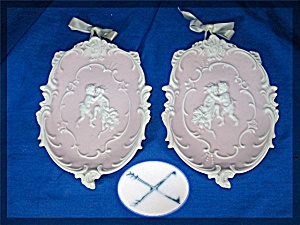 Vintage Porcelain Cherub Angel Wall Plaques. Pair