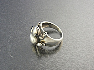 Ring Sterling Silver Frog Onyx Eyes Signed S.E (Image1)