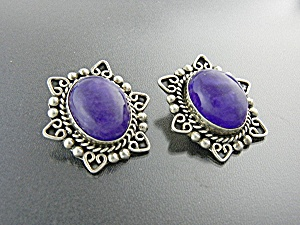 Taxco Mexico TB-166 Sugilite Sterling Silver Clip Earr (Image1)