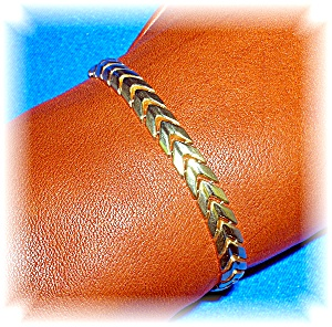 Bracelet 14K Yellow Gold Leaf Linked  (Image1)