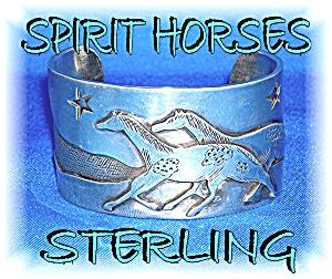Artist KIYO Sterling Silver Bracelet Spirit Horses  (Image1)