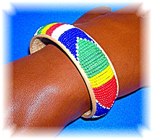 Beaded Leather Native American Bangle Bracelet