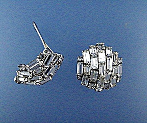 Silver Rhodium Crystal Clip Earrings (Image1)