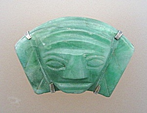 Silver Mexico Green Jade/Glass Face Pin Vintage (Image1)