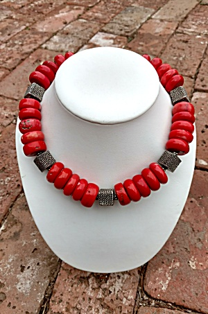 CORAL and  Sterling Silver Toggle Clasp  Necklace (Image1)