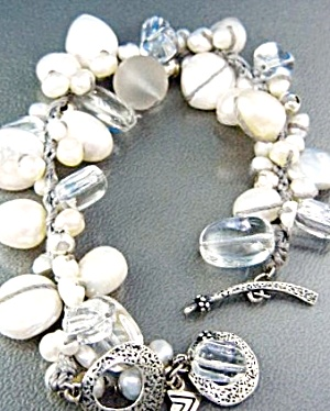 Silpada Sterling Silver Pearls Crystal Toggle Bracelet