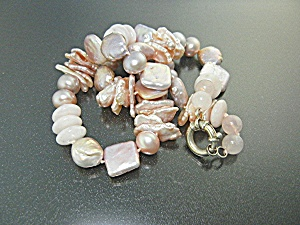 Necklace Pink Coin Freshwater Pearls Rose Quartz SS (Image1)
