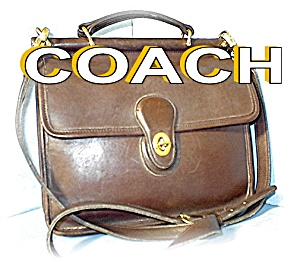Large Tobacco Brown Coach Leather Bag