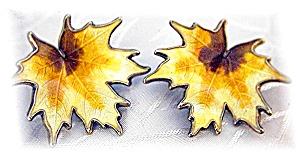 Clip Earrings Norway Sterling Silver & Enamel Leaf (Image1)