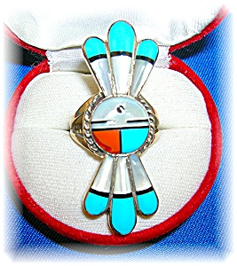 Signed Sterling Turquoise Coral Mother Pearl Ring . .