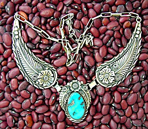 Turquoise Sterling Silver R H Necklace Handmande