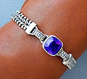 Amethyst 5ct  and Sterling Silver Toggle Clasp Bracelet (Image1)