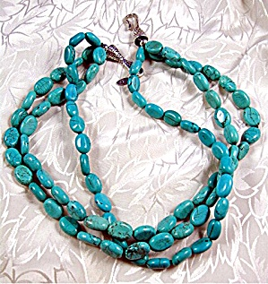 Sterling Silver Turquoise 3 Strand Necklace By EX EX (Image1)