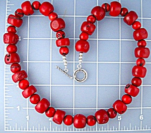 Coral Artist Beads Necklace Sterling Silver Toggle