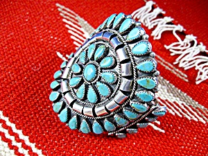 Native American Turquoise Sterling Silver Cuff TOM LONG (Image1)