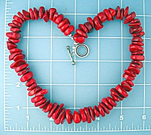 Coral Beads Sterling Silver Toggle Necklace  (Image1)