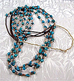 Turquoise Nugget Heishi Bead Necklace Santo Domingo (Image1)