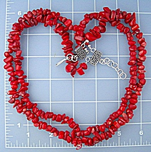 Coral 2 Strand necklace Sterling Silver Hook Clasp (Image1)