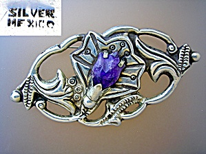 Silver Mexico Amethyst Lily Brooch (Image1)