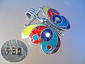 Sterling Silver Lapis Coral mother of Pearl Butterfly P (Image1)