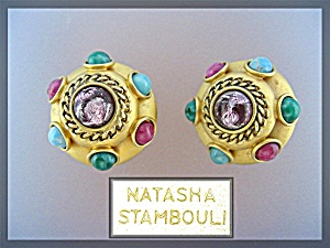 Earrings Clip NATASHA STAMBOULI Gold and Stones (Image1)