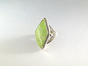 Gaspeite Sterling Silver Artisan  Ring By Peyote Bird (Image1)
